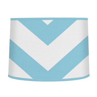 Chevron 10 Brushed Microfiber Drum Lamp Shade Color: Turquoise / White