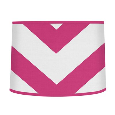Chevron 10 Brushed Microfiber Drum Lamp Shade Color: Pink / White