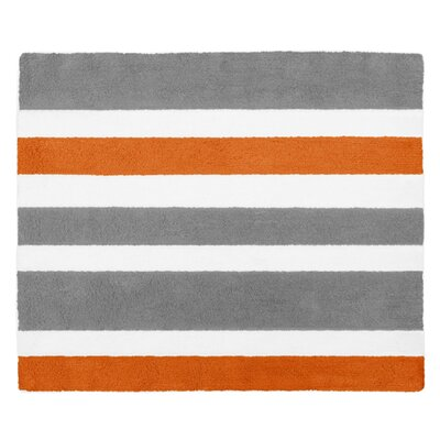 Stripe Hand-Tufted Gray / Orange Area Rug