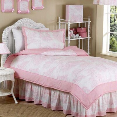 French Toile 4 Piece Twin Comforter Set