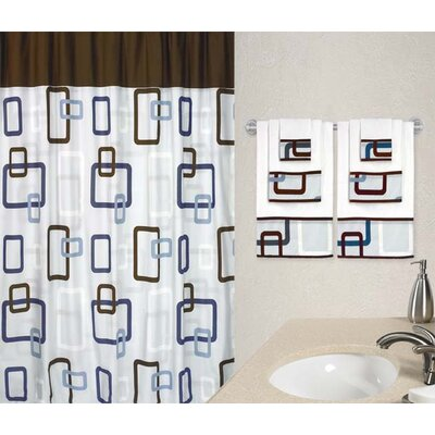 brown geometric shower curtain