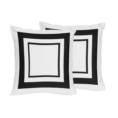 Hotel Cotton Throw Pillows Color: White & Black