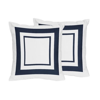 Hotel Cotton Throw Pillows Color: White & Navy