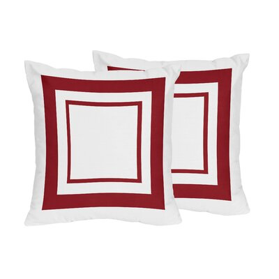 Hotel Cotton Throw Pillows Color: White & Red