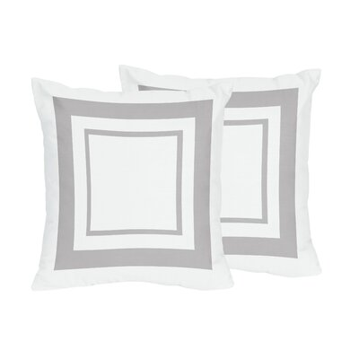 Hotel Cotton Throw Pillows Color: White & Gray