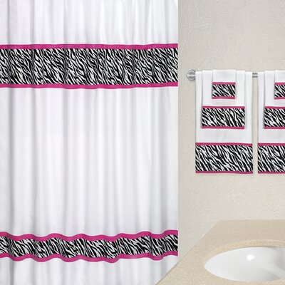 Funky Zebra Cotton Shower Curtain Color: Pink