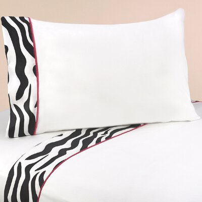 Zebra 4 Piece 100% Cotton Pink Sheet Set Size: Queen