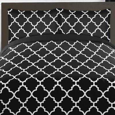 Trellis 4 Piece Twin Comforter Set Color: Black and White