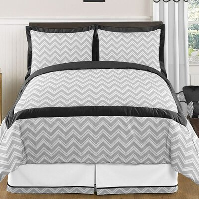 Zig Zag 3 Piece Comforter Set Color: Gray and Black
