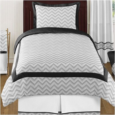 Zig Zag 4 Piece Twin Bedding Set Color: Gray and Black