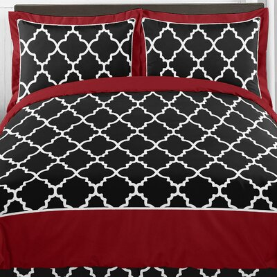 Trellis Comforter Set Color: Red and Black, Size: Twin