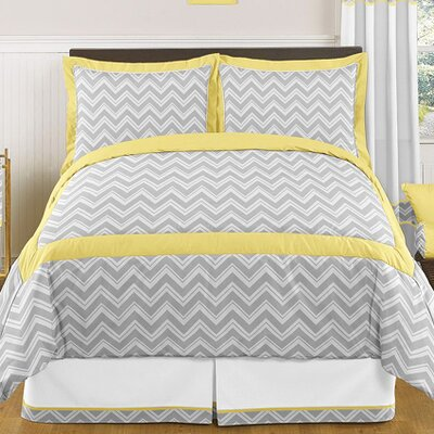Zig Zag 3 Piece Comforter Set Color: Gray and Yellow