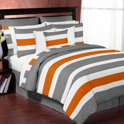 Stripe Comforter Set Color: Gray/Orange, Size: Queen/Full