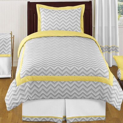 Zig Zag 4 Piece Twin Bedding Set Color: Gray and Yellow