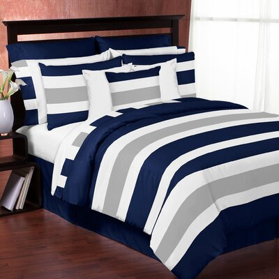 Stripe Comforter Set Color: Gray/Navy Blue, Size: Queen/Full