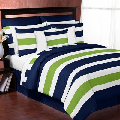 Stripe Comforter Set Color: Blue/Green, Size: Queen/Full