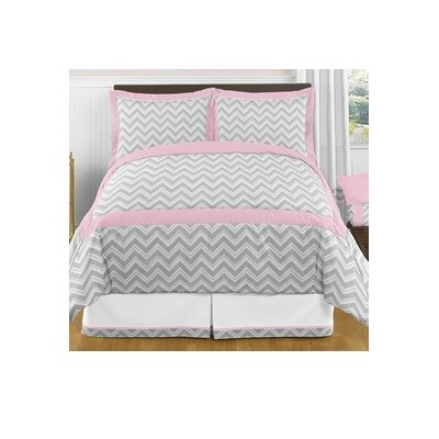 Zig Zag 3 Piece Comforter Set Color: Gray and Pink