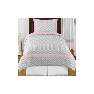 Zig Zag 4 Piece Twin Bedding Set Color: Gray and Pink