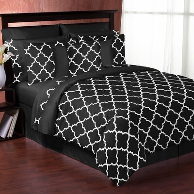 Trellis 3 Piece Comforter Set Color: Black and White, Size: Full/Queen