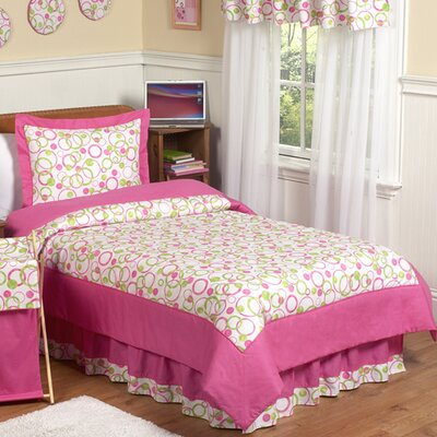 Circles Pink 4 Piece Twin Comforter Set