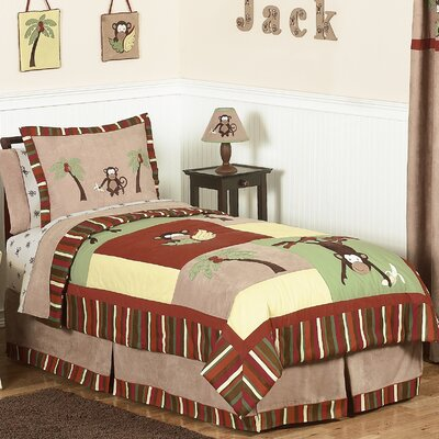 Monkey 4 Piece Twin Quilt Set