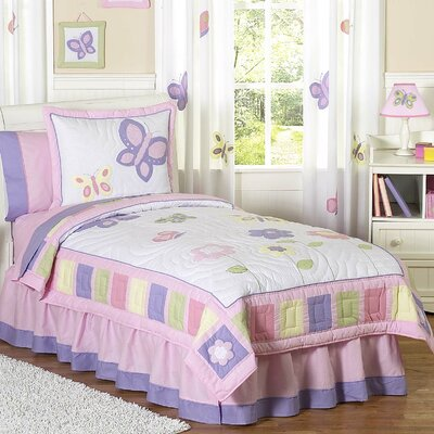 Butterfly Twin Comforter Set Color: Pink and Purple