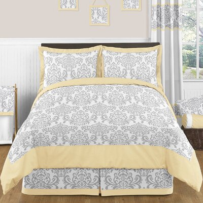 Avery 3 Piece Comforter Set Color: Yellow and Gray