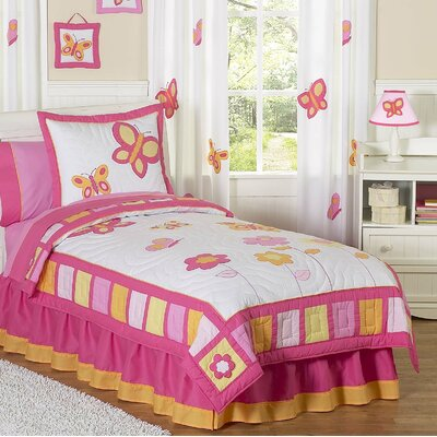 Butterfly Twin Comforter Set Color: Pink and Orange