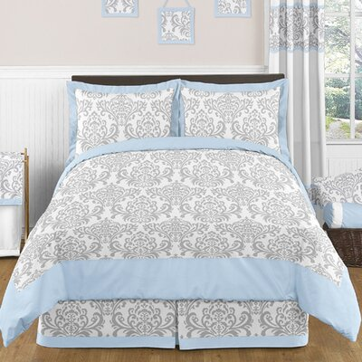 Avery 3 Piece Comforter Set Color: Blue and Gray