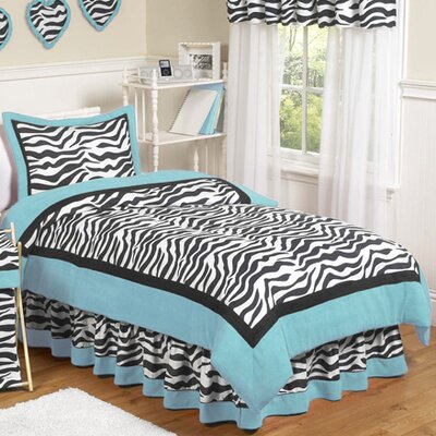 Zebra 4 Piece Twin Comforter Set Color: Turquoise