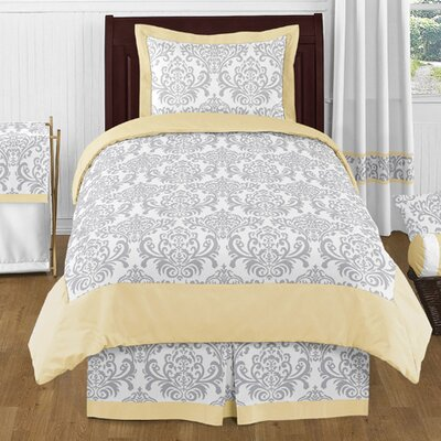 Avery 4 Piece Twin Comforter Set Color: Yellow and Gray