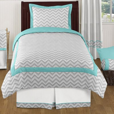 Zig Zag 4 Piece Twin Bedding Set Color: Gray and Turquoise