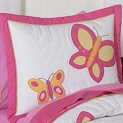 Butterfly Pillow Sham Color: Pink and Orange