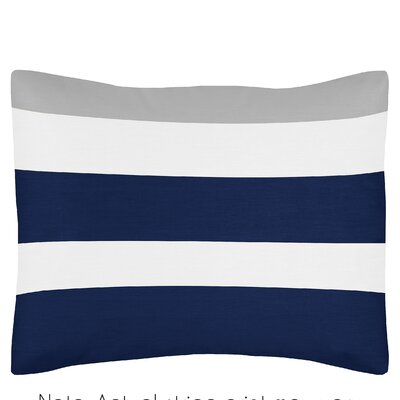 Stripe Standard Pillow Sham Color: Gray/Navy Blue