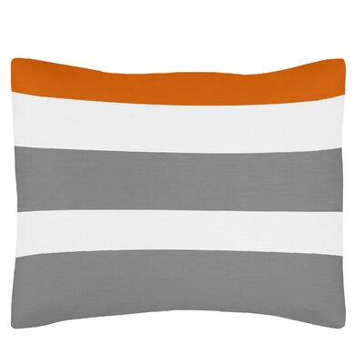 Stripe Standard Pillow Sham Color: Gray/Orange