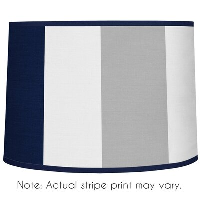 Stripe 10 Brushed Microfiber Drum Lamp Shade Color: Navy Blue / Gray
