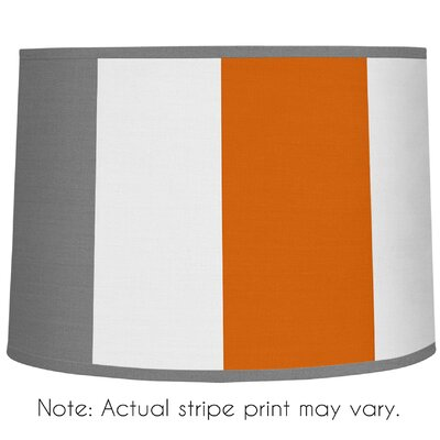 Stripe 10 Brushed Microfiber Drum Lamp Shade Color: Gray / Orange