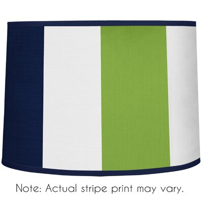 Stripe 10 Brushed Microfiber Drum Lamp Shade Color: Navy Blue / Lime Green