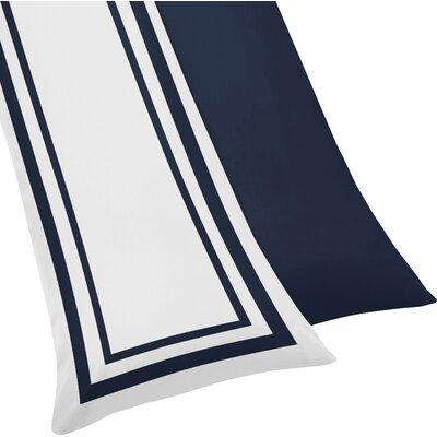Hotel Body Pillowcase Color: White & Navy