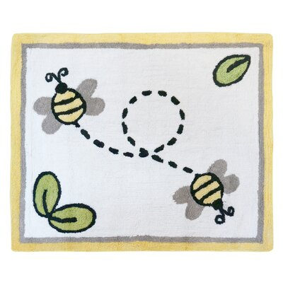 Honey Bee Hand Tufted White Area Rug