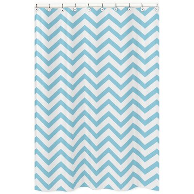 Chevron Microfiber Shower Curtain Color: Turquoise