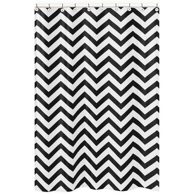 Chevron Microfiber Shower Curtain Color: Black