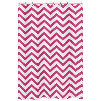 Chevron Microfiber Shower Curtain Color: Hot Pink