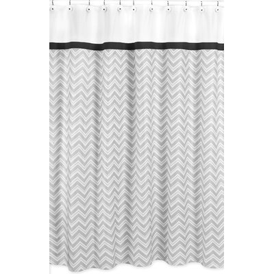 Zig Zag Cotton Shower Curtain Color: Grey and Black