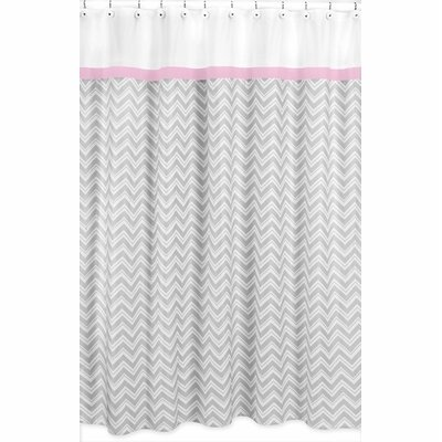 Zig Zag Cotton Shower Curtain Color: Grey and Pink