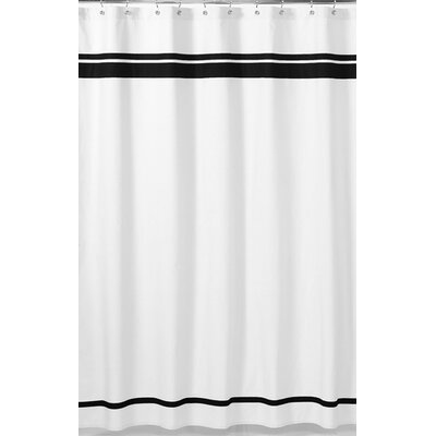 Hotel Cotton Shower Curtain Color: White / Black