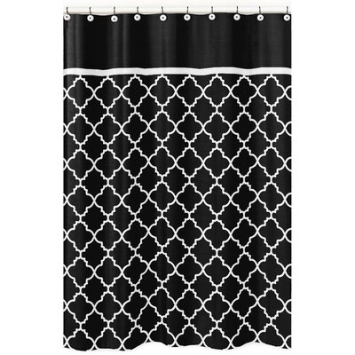 Trellis Brushed Microfiber Shower Curtain Color: Black