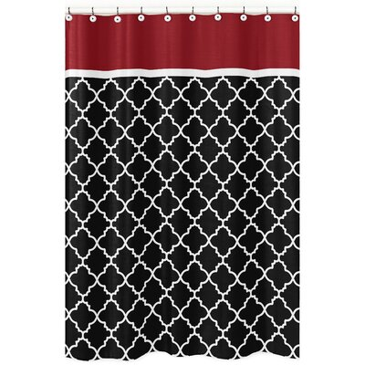 Trellis Brushed Microfiber Shower Curtain Color: Red and Black
