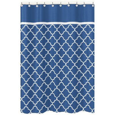 Trellis Brushed Microfiber Shower Curtain Color: Blue