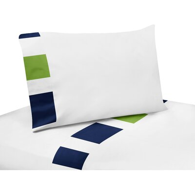 Stripe 200 Thread Count Sheet Set Size: Queen, Color: Blue/Green